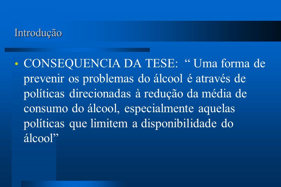 Introdução CONSEQUENCIA DA TESE: Uma forma de prevenir os problemas do álcool é através de políticas direcionadas à redução da média de consumo do álc