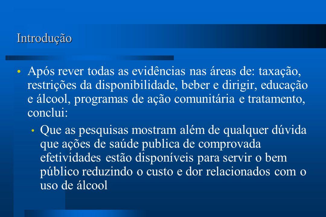 Introdução Após rever todas as evidências nas áreas de: taxação, restrições da disponibilidade, beber e dirigir, educação e álcool, programas de ação