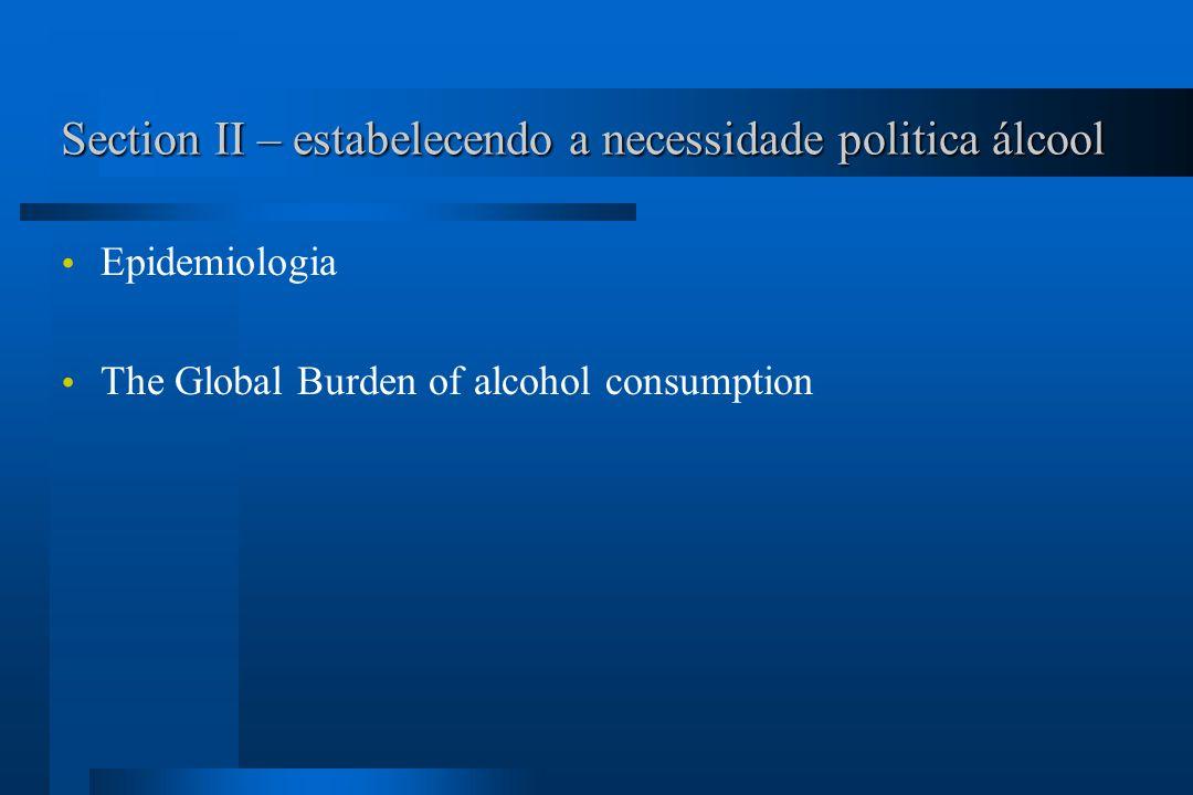 Section III – estratégias e intervenções Estratégias e intervenções para reduzir o dano relacionado com álcool Preço e taxação Regulando a disponibilidade física do álcool Contexto do beber Beber e dirigir Regulando promoção do álcool Educação Tratamento