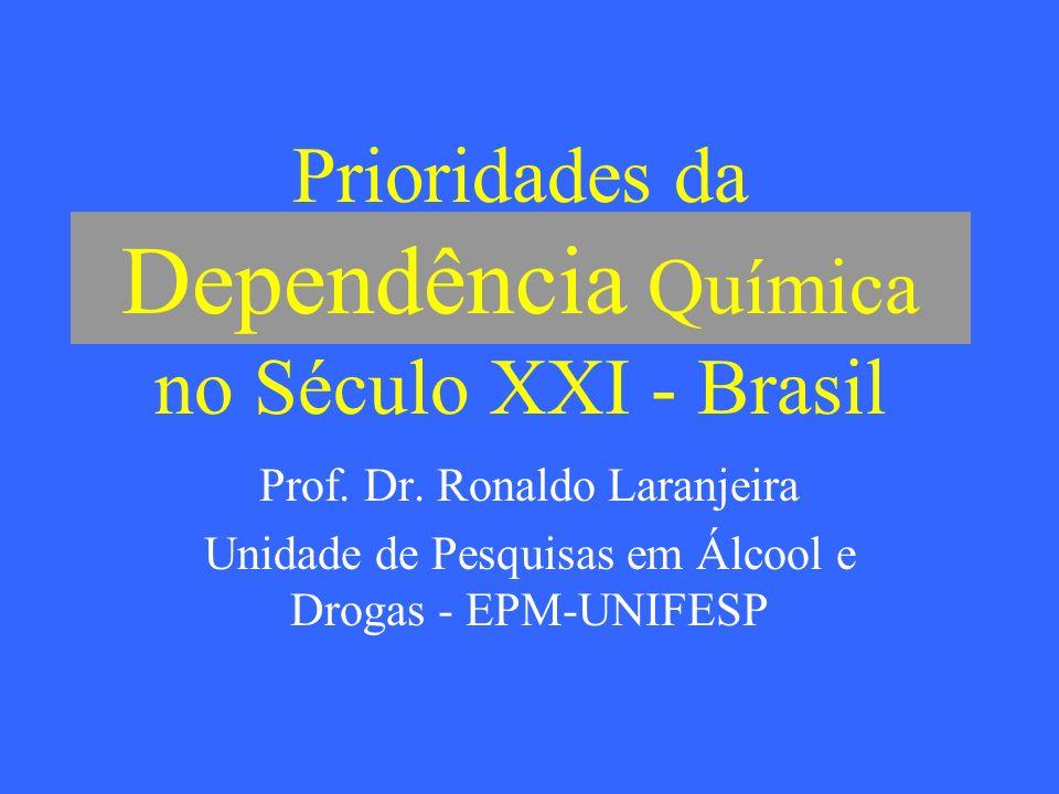 Prioridades da Dependência Química no Século XXI - Brasil Prof. Dr. Ronaldo Laranjeira Unidade de Pesquisas em Álcool e Drogas - EPM-UNIFESP