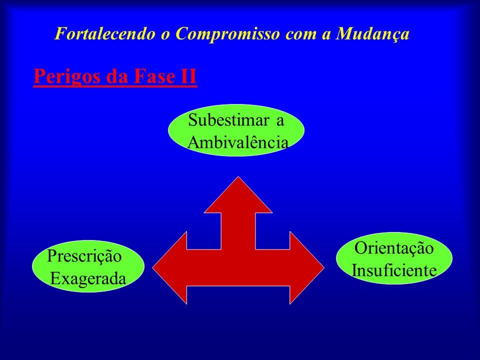 Fortalecendo o Compromisso com a Mudança O primeiro passo ao fazer a transição para a fase II é resumir novamente a situação do paciente, do modo como se reflete em suas interações até esse ponto.