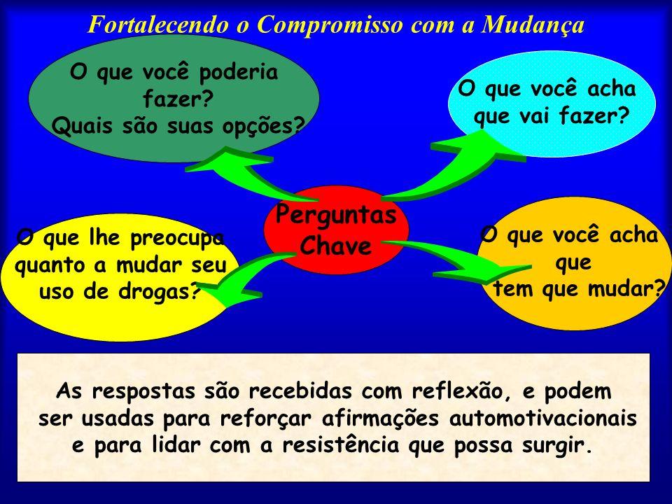 Fortalecendo o Compromisso com a Mudança O que você acha que tem que mudar? O que você acha que vai fazer? Perguntas Chave O que você poderia fazer? Q
