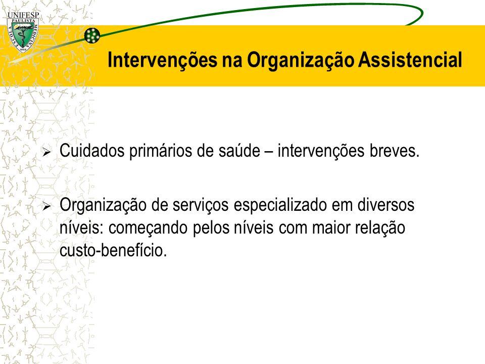 Intervenções na Organização Assistencial Cuidados primários de saúde – intervenções breves. Organização de serviços especializado em diversos níveis: