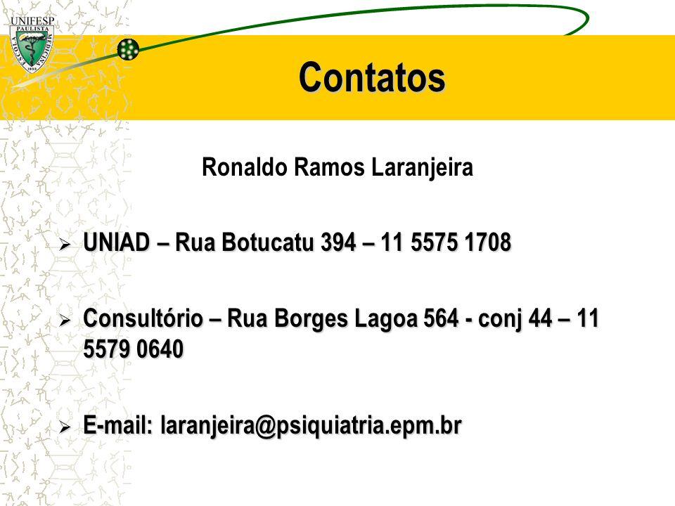 Contatos Ronaldo Ramos Laranjeira UNIAD – Rua Botucatu 394 – 11 5575 1708 UNIAD – Rua Botucatu 394 – 11 5575 1708 Consultório – Rua Borges Lagoa 564 -