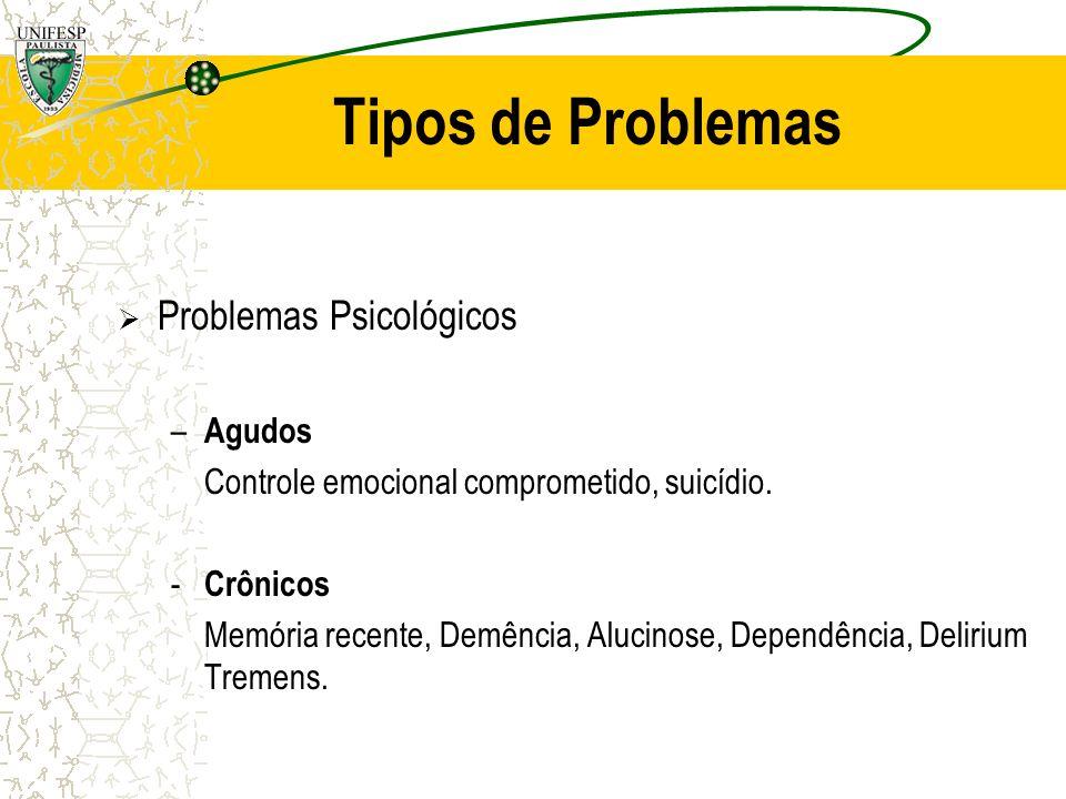 Tipos de Problemas Problemas Sociais – Agudos Trabalho, Violência (Geral e Doméstica), Acidentes Carro.