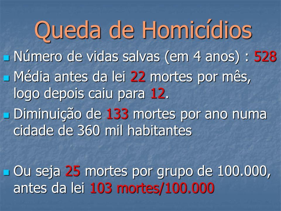 Queda de Homicídios Queda de Homicídios Número de vidas salvas (em 4 anos) : 528 Número de vidas salvas (em 4 anos) : 528 Média antes da lei 22 mortes por mês, logo depois caiu para 12.