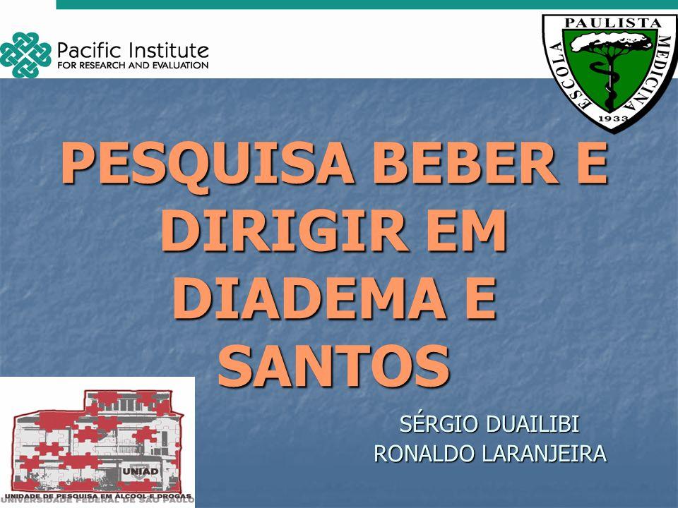 PESQUISA BEBER E DIRIGIR EM DIADEMA E SANTOS SÉRGIO DUAILIBI RONALDO LARANJEIRA