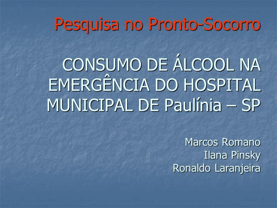 Pesquisa no Pronto-Socorro Objetivo: Avaliar a relação entre consumo de álcool e busca por atendimento médico na unidade de pronto-socorro do Hospital Municipal de Paulínia
