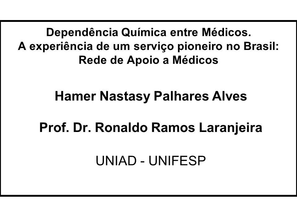 Dependência Química entre Médicos. A experiência de um serviço pioneiro no Brasil: Rede de Apoio a Médicos Hamer Nastasy Palhares Alves Prof. Dr. Rona