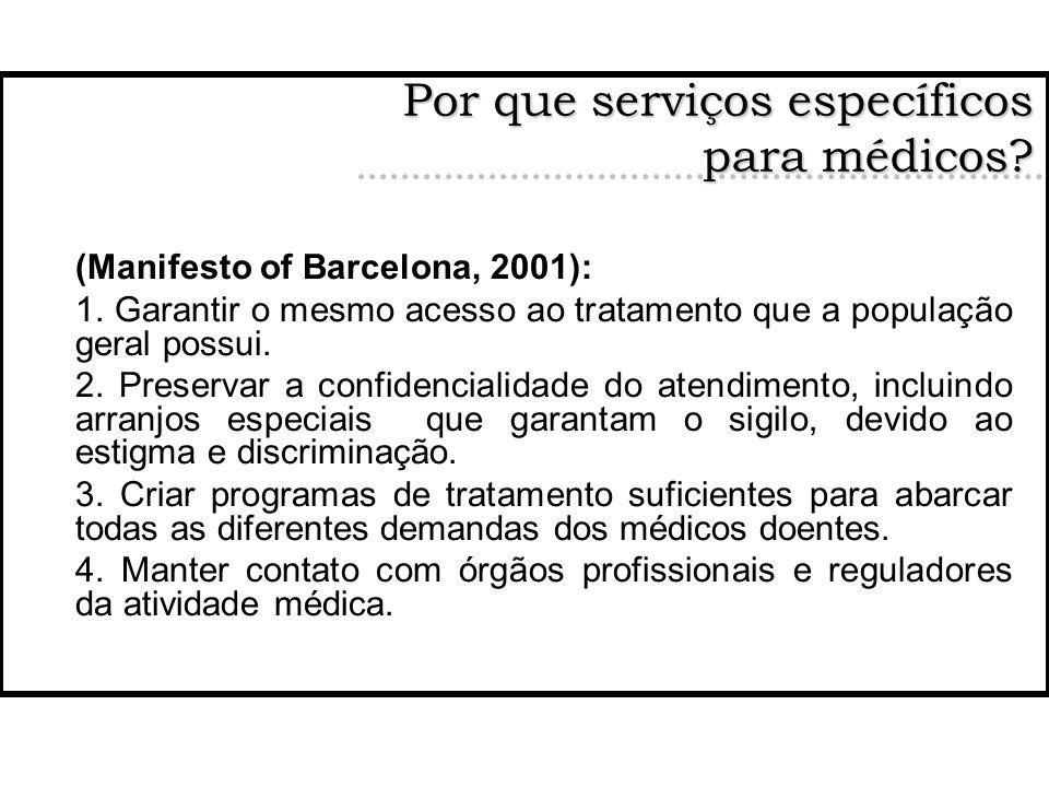 (Manifesto of Barcelona, 2001): 1. Garantir o mesmo acesso ao tratamento que a população geral possui. 2. Preservar a confidencialidade do atendimento