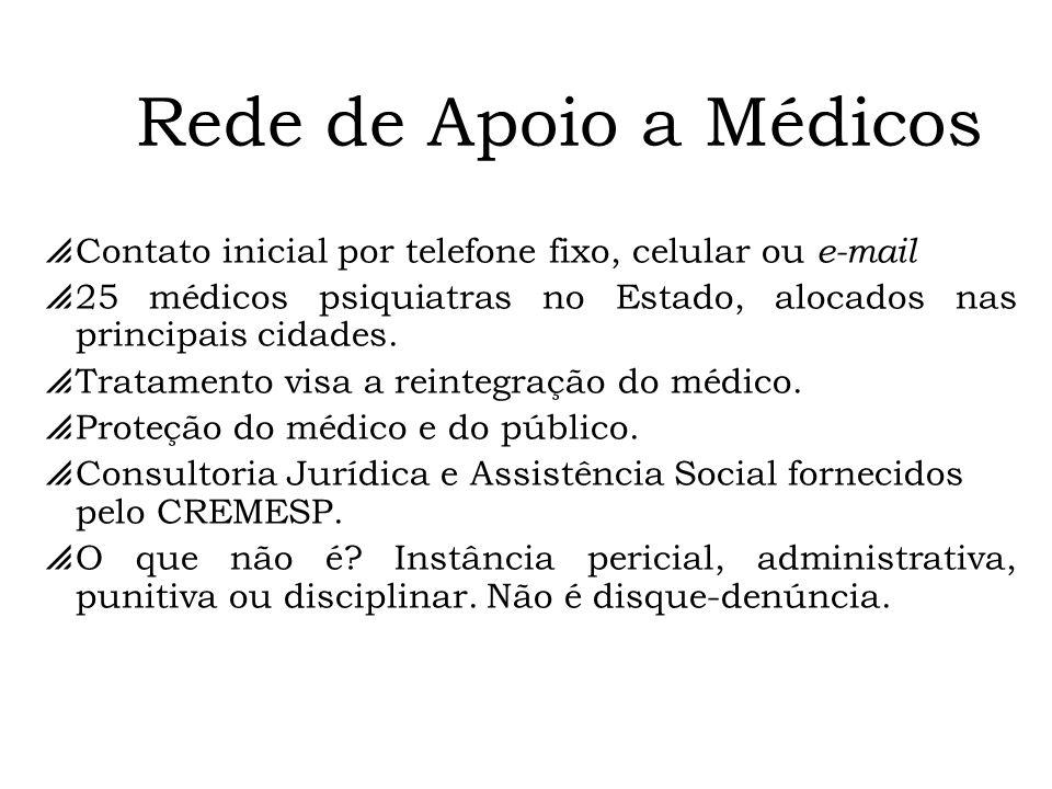 Contato inicial por telefone fixo, celular ou e-mail 25 médicos psiquiatras no Estado, alocados nas principais cidades. Tratamento visa a reintegração