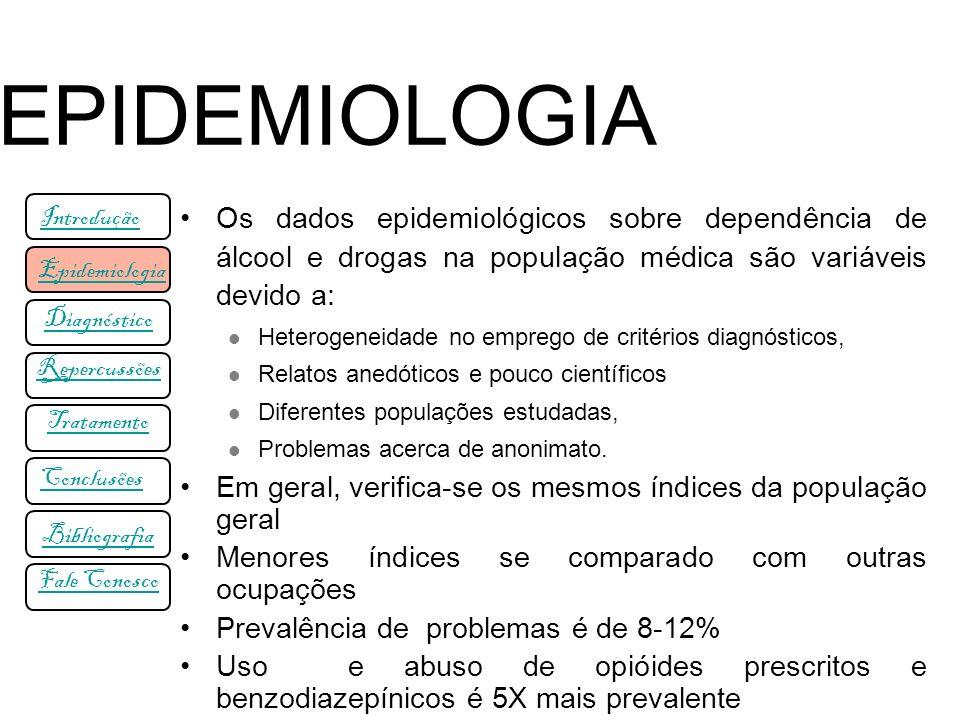 Os dados epidemiológicos sobre dependência de álcool e drogas na população médica são variáveis devido a: Heterogeneidade no emprego de critérios diag
