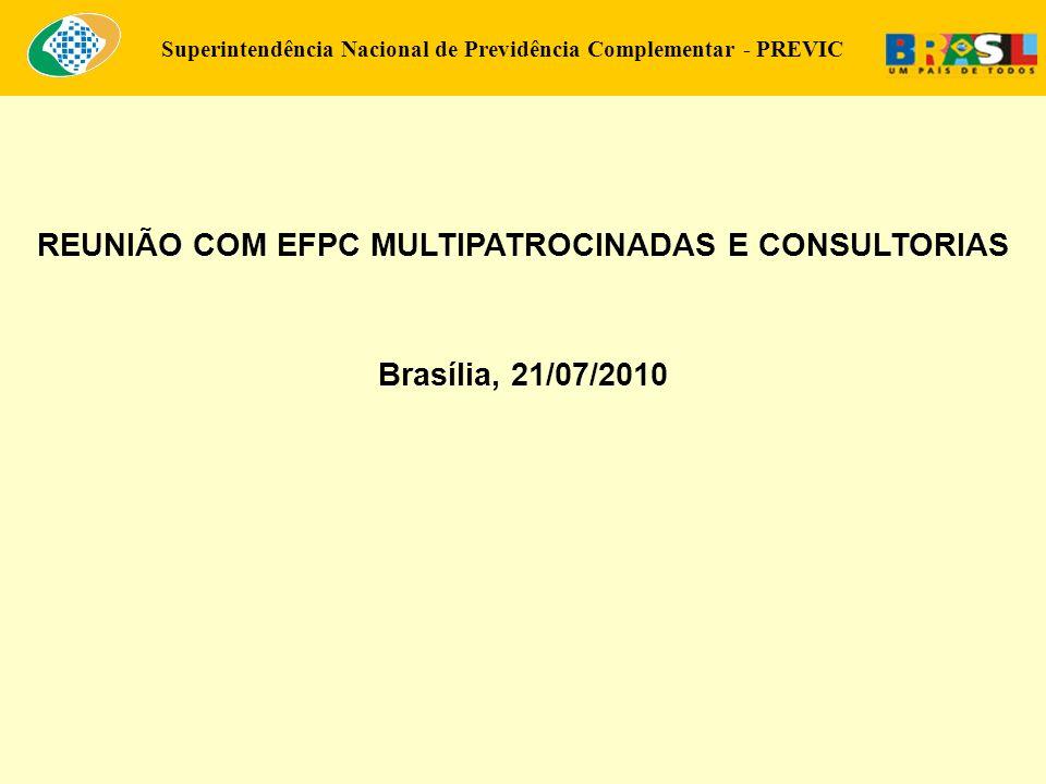 Superintendência Nacional de Previdência Complementar - PREVIC REUNIÃO COM EFPC MULTIPATROCINADAS E CONSULTORIAS Brasília, 21/07/2010