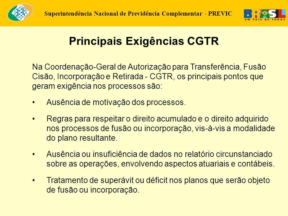 Superintendência Nacional de Previdência Complementar - PREVIC Principais Exigências CGTR Na Coordenação-Geral de Autorização para Transferência, Fusã