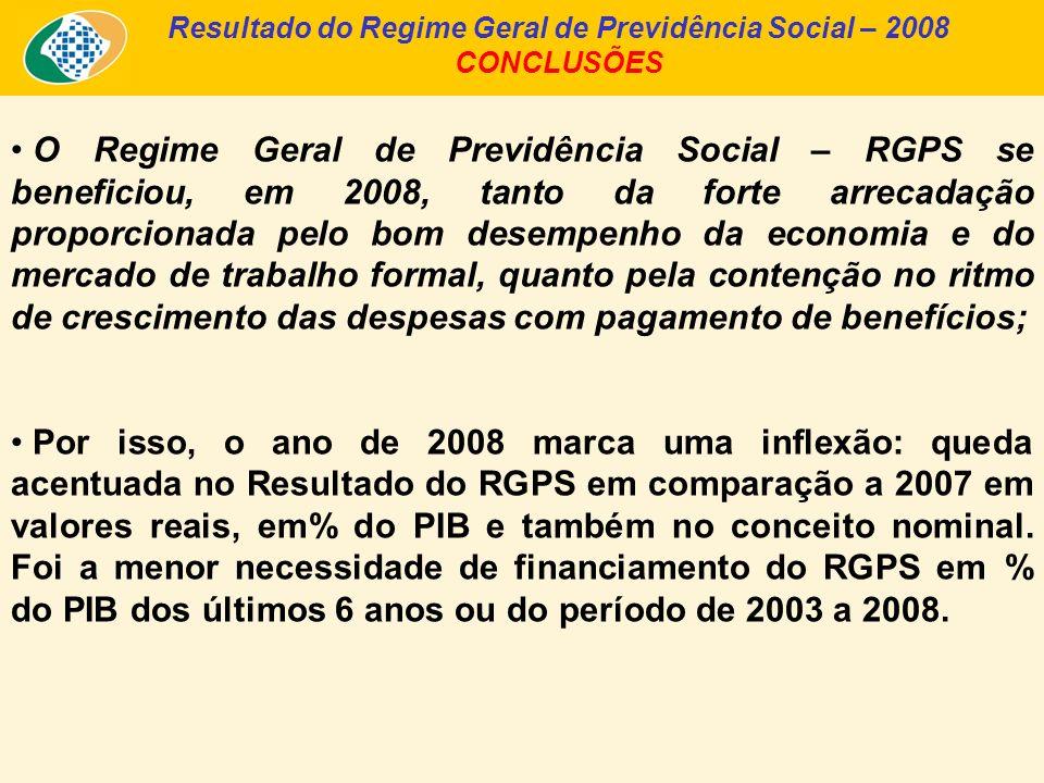 Resultado do Regime Geral de Previdência Social – 2008 CONCLUSÕES O Regime Geral de Previdência Social – RGPS se beneficiou, em 2008, tanto da forte arrecadação proporcionada pelo bom desempenho da economia e do mercado de trabalho formal, quanto pela contenção no ritmo de crescimento das despesas com pagamento de benefícios; Por isso, o ano de 2008 marca uma inflexão: queda acentuada no Resultado do RGPS em comparação a 2007 em valores reais, em% do PIB e também no conceito nominal.
