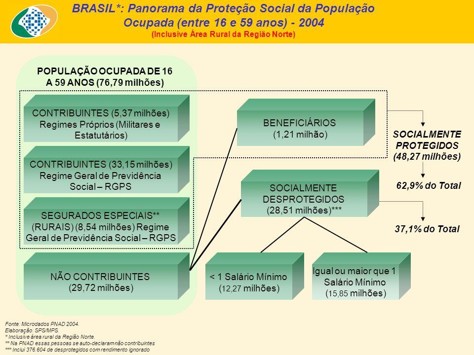 BRASIL*: Panorama da Proteção Social da População Ocupada (entre 16 e 59 anos) - 2004 (Inclusive Área Rural da Região Norte) Fonte: Microdados PNAD 20