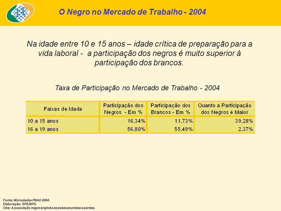 O Negro no Mercado de Trabalho - 2004 Taxa de Participação no Mercado de Trabalho - 2004 Na idade entre 10 e 15 anos – idade crítica de preparação par