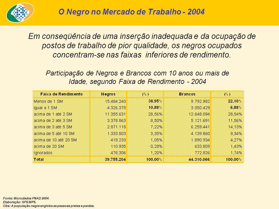Participação de Negros e Brancos com 10 anos ou mais de Idade, segundo Faixa de Rendimento - 2004 O Negro no Mercado de Trabalho - 2004 Em conseqüênci