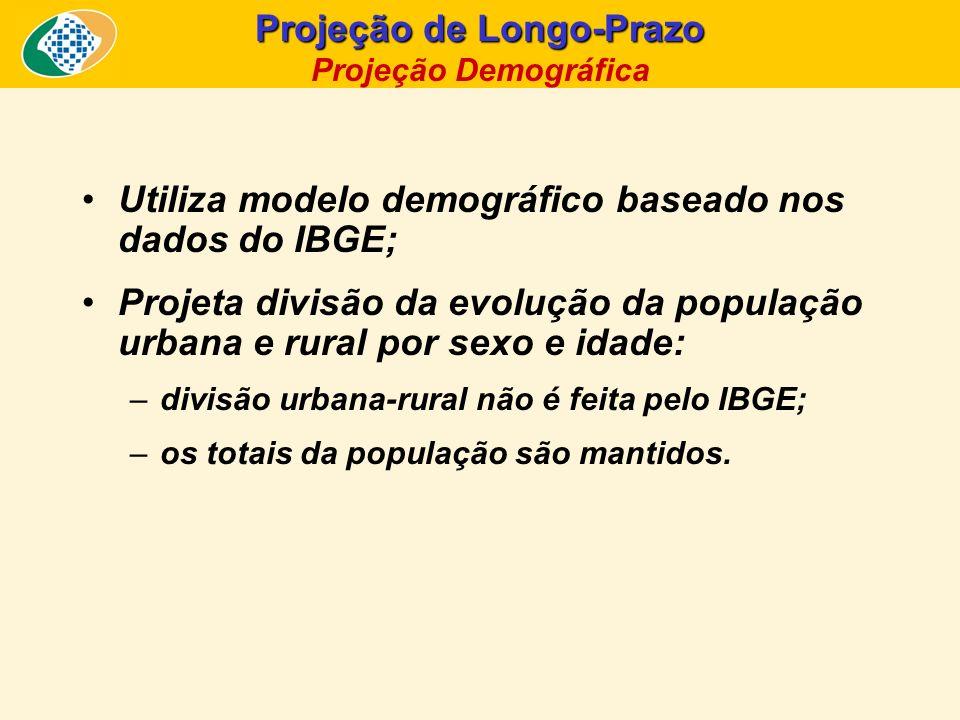 Utiliza modelo demográfico baseado nos dados do IBGE; Projeta divisão da evolução da população urbana e rural por sexo e idade: –divisão urbana-rural
