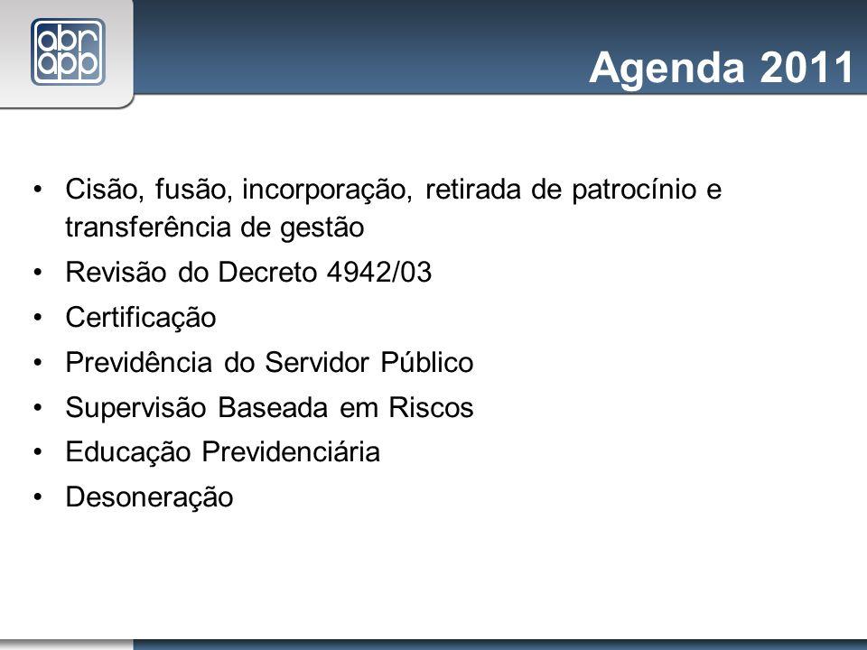 Agenda 2011 Cisão, fusão, incorporação, retirada de patrocínio e transferência de gestão Revisão do Decreto 4942/03 Certificação Previdência do Servid