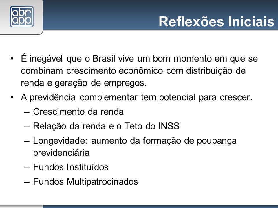 Reflexões Iniciais É inegável que o Brasil vive um bom momento em que se combinam crescimento econômico com distribuição de renda e geração de emprego