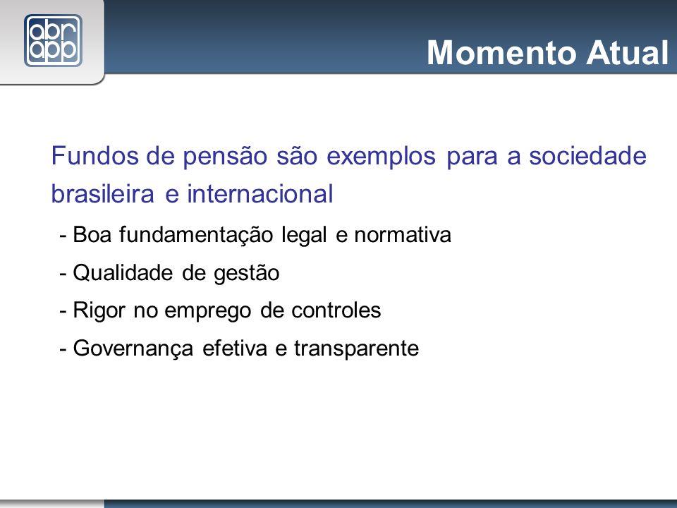 Momento Atual Fundos de pensão são exemplos para a sociedade brasileira e internacional - Boa fundamentação legal e normativa - Qualidade de gestão -