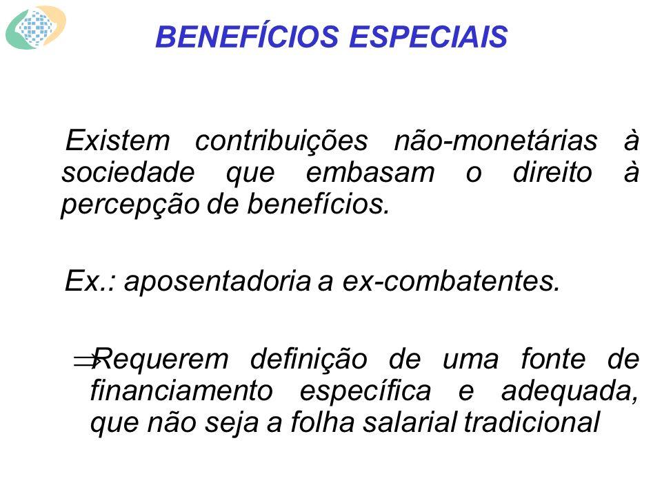 BENEFÍCIOS ESPECIAIS Existem contribuições não-monetárias à sociedade que embasam o direito à percepção de benefícios.