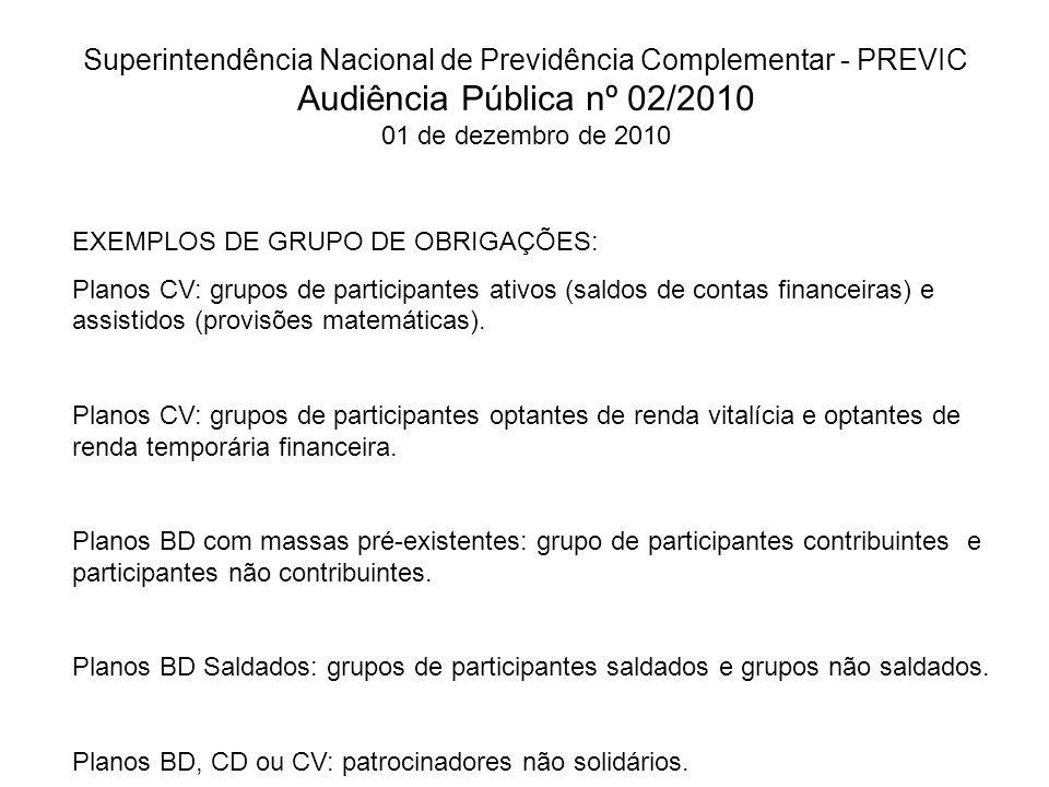 Superintendência Nacional de Previdência Complementar - PREVIC Audiência Pública nº 02/2010 01 de dezembro de 2010 EXEMPLOS DE GRUPO DE OBRIGAÇÕES: Planos CV: grupos de participantes ativos (saldos de contas financeiras) e assistidos (provisões matemáticas).