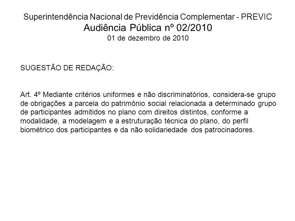 Superintendência Nacional de Previdência Complementar - PREVIC Audiência Pública nº 02/2010 01 de dezembro de 2010 SUGESTÃO DE REDAÇÃO: Art.