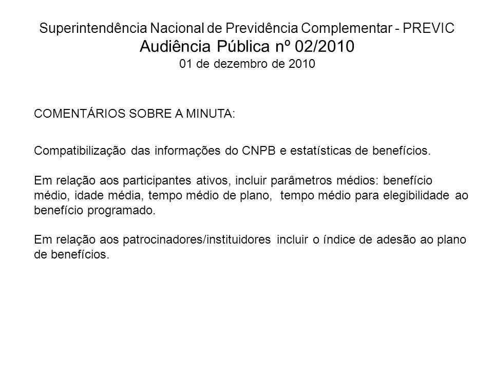 Superintendência Nacional de Previdência Complementar - PREVIC Audiência Pública nº 02/2010 01 de dezembro de 2010 COMENTÁRIOS SOBRE A MINUTA: Compati