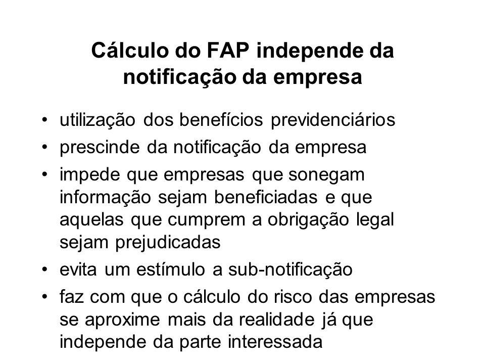Cálculo do FAP independe da notificação da empresa utilização dos benefícios previdenciários prescinde da notificação da empresa impede que empresas q