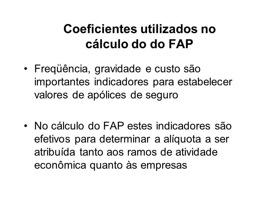 Coeficientes utilizados no cálculo do do FAP Freqüência, gravidade e custo são importantes indicadores para estabelecer valores de apólices de seguro