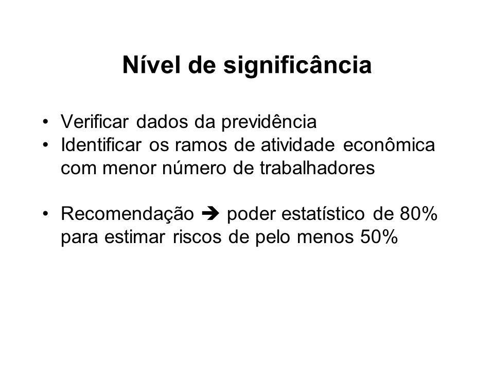 Nível de significância Verificar dados da previdência Identificar os ramos de atividade econômica com menor número de trabalhadores Recomendação poder