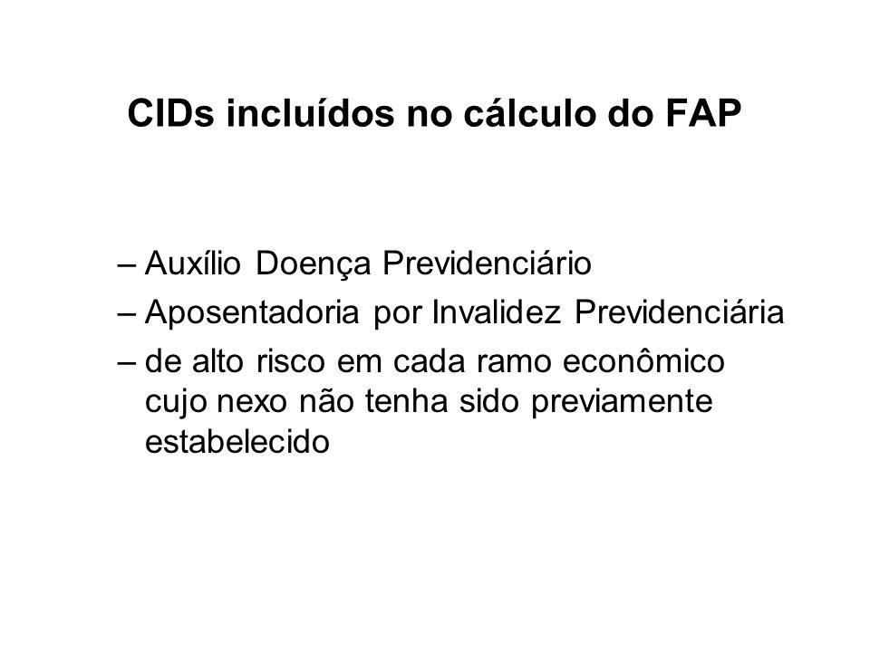 CIDs incluídos no cálculo do FAP –Auxílio Doença Previdenciário –Aposentadoria por Invalidez Previdenciária –de alto risco em cada ramo econômico cujo