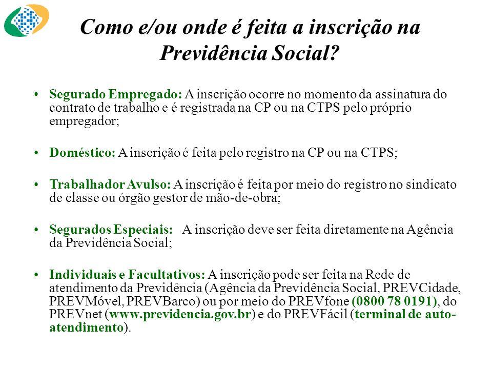 Como e/ou onde é feita a inscrição na Previdência Social.