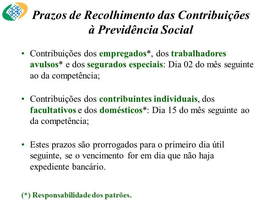 Prazos de Recolhimento das Contribuições à Previdência Social Contribuições dos empregados*, dos trabalhadores avulsos* e dos segurados especiais: Dia