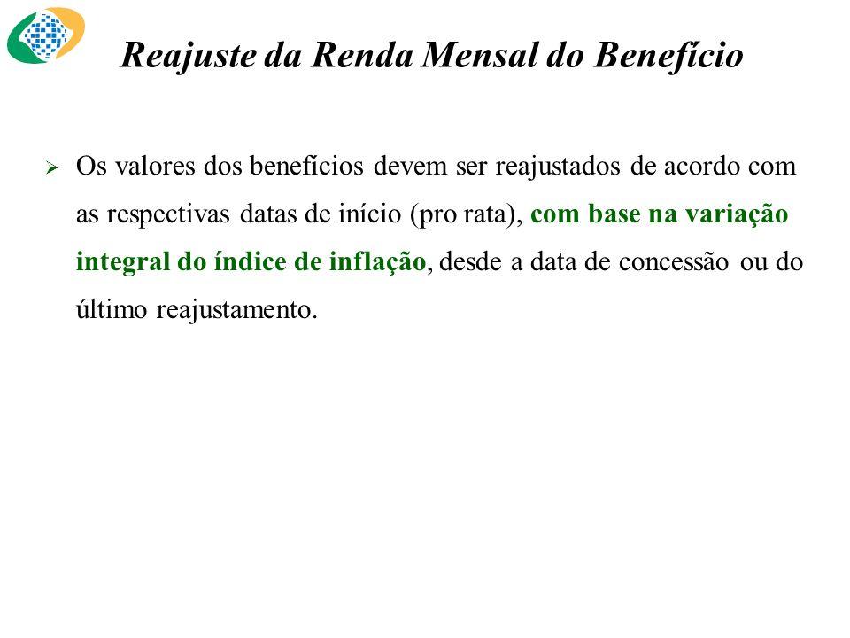 Reajuste da Renda Mensal do Benefício Os valores dos benefícios devem ser reajustados de acordo com as respectivas datas de início (pro rata), com bas