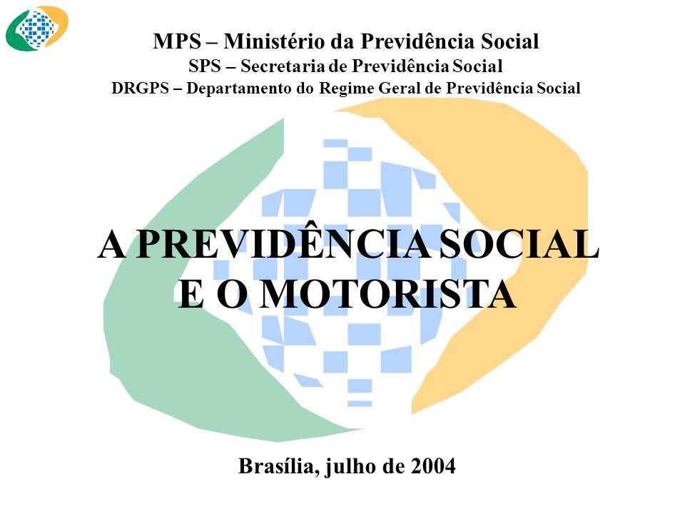 MPS – Ministério da Previdência Social SPS – Secretaria de Previdência Social DRGPS – Departamento do Regime Geral de Previdência Social A PREVIDÊNCIA SOCIAL E O MOTORISTA Brasília, julho de 2004