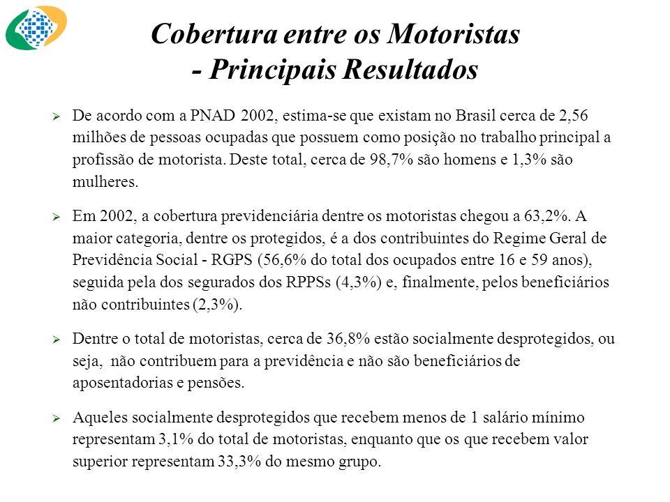 De acordo com a PNAD 2002, estima-se que existam no Brasil cerca de 2,56 milhões de pessoas ocupadas que possuem como posição no trabalho principal a profissão de motorista.