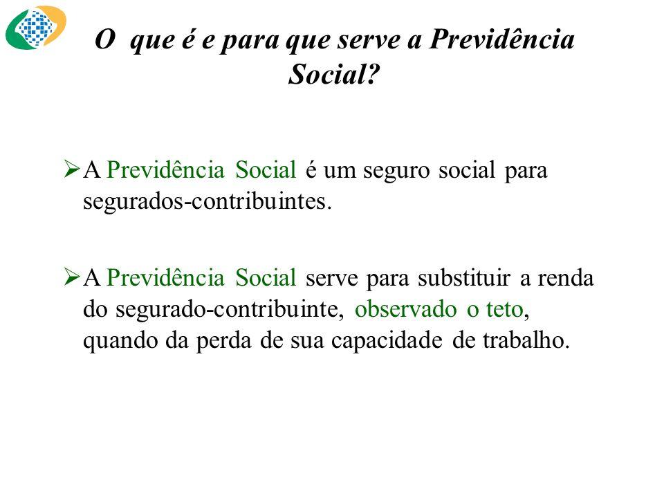 O que é e para que serve a Previdência Social? A Previdência Social é um seguro social para segurados-contribuintes. A Previdência Social serve para s