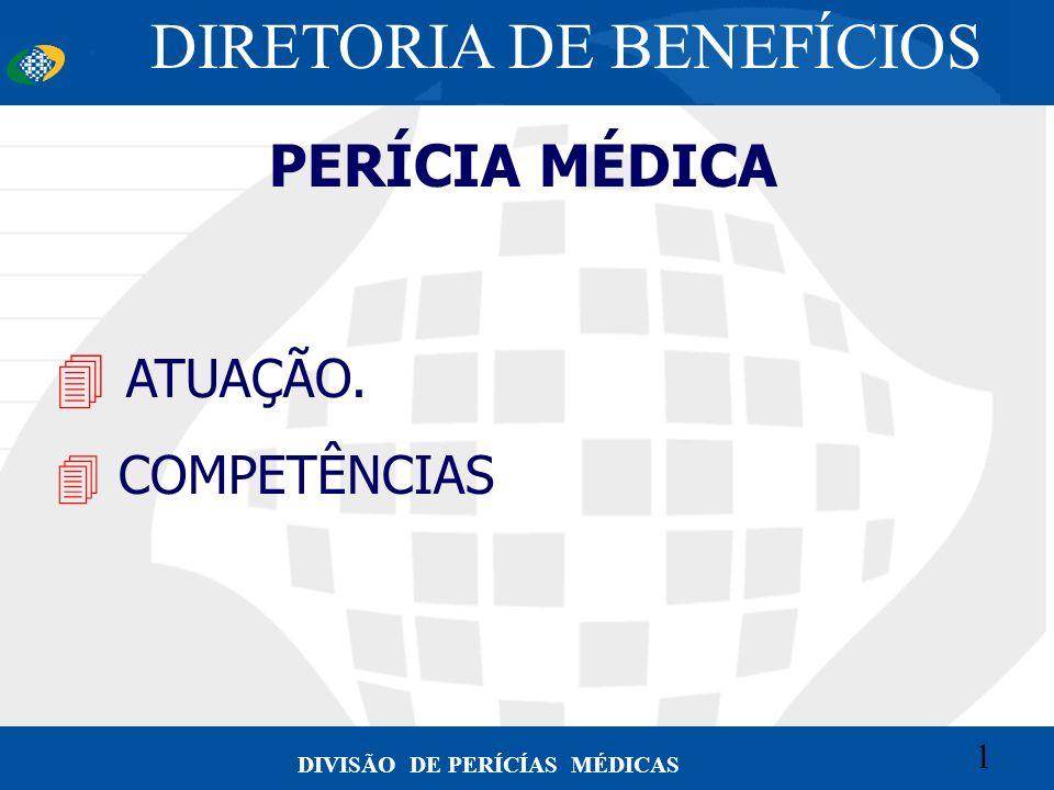 1 Convênio CETEAD 1 DIVISÃO DE PERÍCÍAS MÉDICAS PERÍCIA MÉDICA 4 ATUAÇÃO. 4 COMPETÊNCIAS DIRETORIA DE BENEFÍCIOS