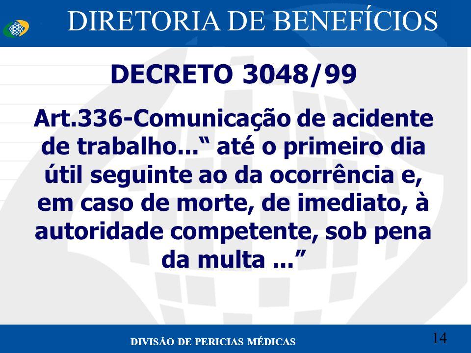 14 Convênio CETEAD 14 DIVISÃO DE PERICIAS MÉDICAS DECRETO 3048/99 Art.336-Comunicação de acidente de trabalho... até o primeiro dia útil seguinte ao d
