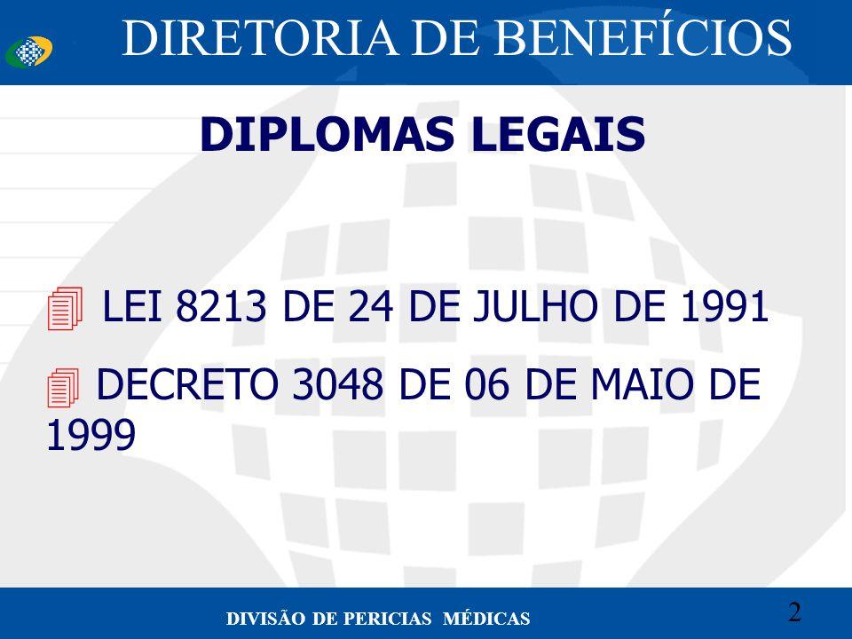 2 Convênio CETEAD 2 DIVISÃO DE PERICIAS MÉDICAS DIPLOMAS LEGAIS 4 LEI 8213 DE 24 DE JULHO DE 1991 4 DECRETO 3048 DE 06 DE MAIO DE 1999 DIRETORIA DE BE