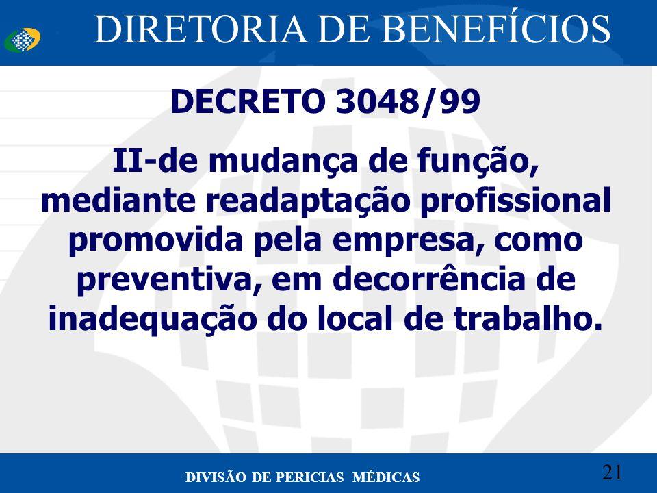 21 Convênio CETEAD 21 DIVISÃO DE PERICIAS MÉDICAS DECRETO 3048/99 II-de mudança de função, mediante readaptação profissional promovida pela empresa, c