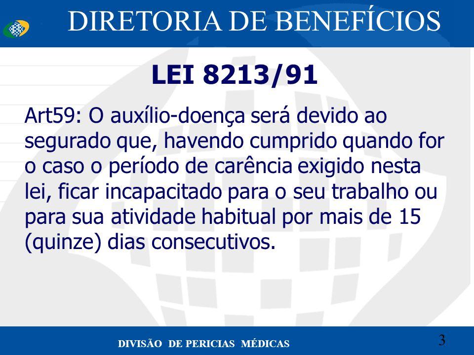 3 Convênio CETEAD 3 DIVISÃO DE PERICIAS MÉDICAS LEI 8213/91 Art59: O auxílio-doença será devido ao segurado que, havendo cumprido quando for o caso o