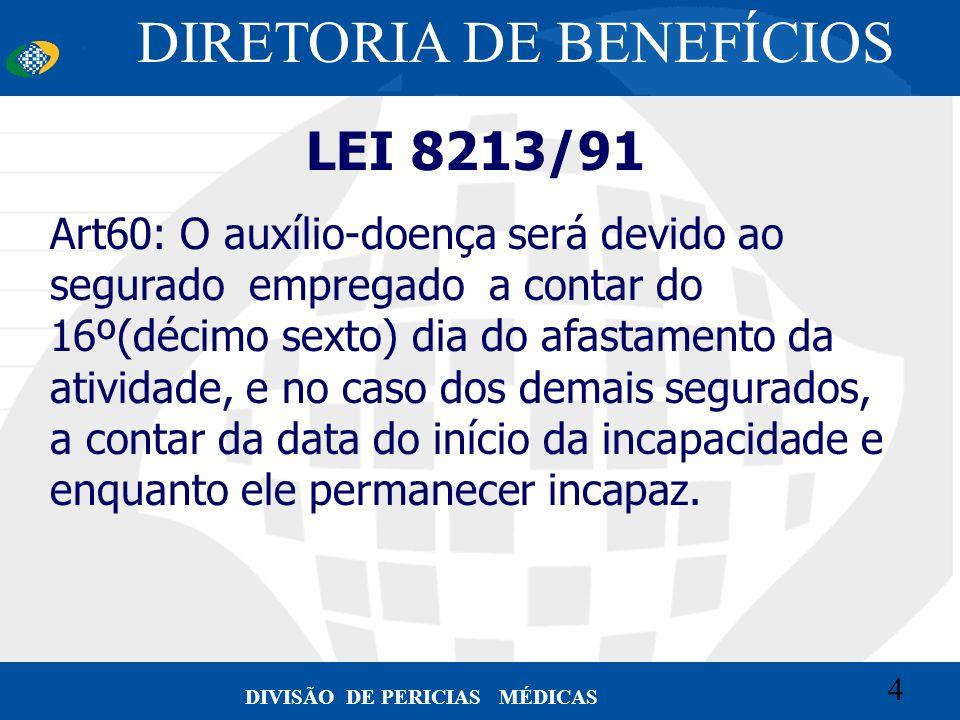 4 Convênio CETEAD 4 DIVISÃO DE PERICIAS MÉDICAS LEI 8213/91 Art60: O auxílio-doença será devido ao segurado empregado a contar do 16º(décimo sexto) di