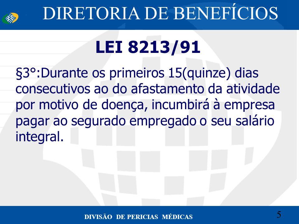 5 Convênio CETEAD 5 DIVISÃO DE PERICIAS MÉDICAS LEI 8213/91 §3°:Durante os primeiros 15(quinze) dias consecutivos ao do afastamento da atividade por m