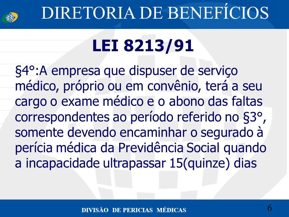 6 Convênio CETEAD 6 DIVISÃO DE PERICIAS MÉDICAS LEI 8213/91 §4°:A empresa que dispuser de serviço médico, próprio ou em convênio, terá a seu cargo o e