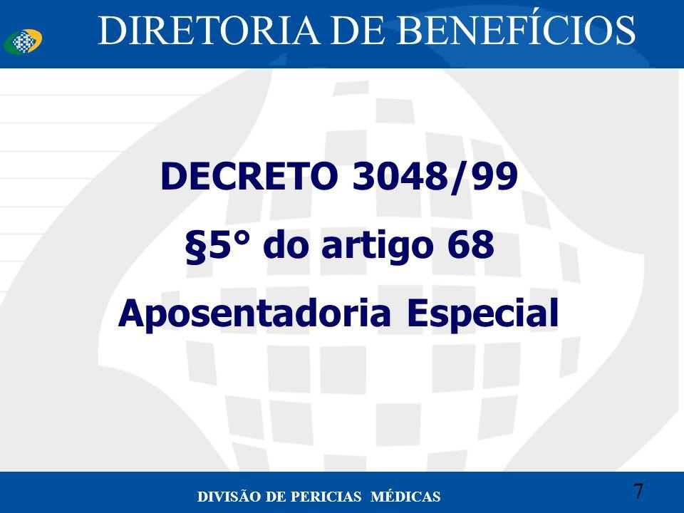 7 Convênio CETEAD 7 DIVISÃO DE PERICIAS MÉDICAS DECRETO 3048/99 §5° do artigo 68 Aposentadoria Especial DIRETORIA DE BENEFÍCIOS