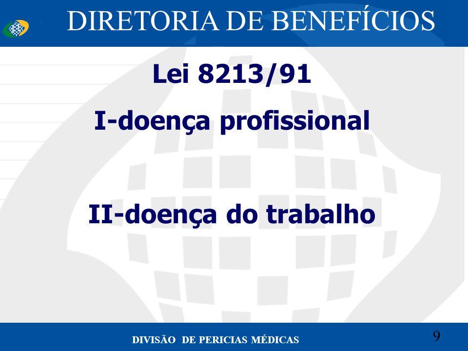 9 Convênio CETEAD 9 DIVISÃO DE PERICIAS MÉDICAS Lei 8213/91 I-doença profissional II-doença do trabalho DIRETORIA DE BENEFÍCIOS